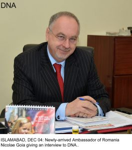 ISLAMABAD, DEC 04: Newly-arrived Ambassador of Romania  Nicolae Goia giving an interview to DNA..