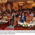 ISLAMABAD, AUG 20: Aziz Boolani, CEO of Serena Hotels along Air Marshal Asad Abdur Rehman Lodhi and others attend premiere of the documentary 'Dancing with Snow' hosted by Ski Federation Pakistan.=DNA PHOTO