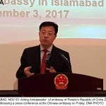 ISLAMABAD, NOV 03: Acting Ambassador  of embsssy of People's Republic of China Zhao Lijian addressing a press conference at the Chinese embassy on Friday. DNA PHOTO