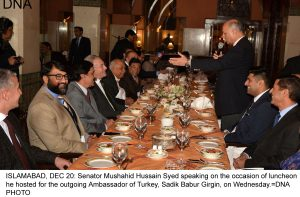 ISLAMABAD, DEC 20: Senator Mushahid Hussain Syed speaking on the occasion of luncheon he hosted for the outgoing Ambassador of Turkey, Sadik Babur Girgin, on Wednesday.=DNA PHOTO