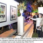 ISLAMABAD, MAR 20: Federal Minister for Defence, Khurram Dastgir Khan, Australian High Commissioner, Margaret Adamson and others taking interest in pictures on the eve photographic exhibition held to mark Australia Day.=DNA PHOTO