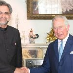 LONDON, APR 19: Prime Minister Shahid Khaqan Abbasi shakes hand with Prince of Wales, Charles Philip at Clarence House in London.=DNA PHOTO