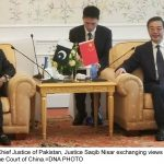 BEIJING, MAY 24: Chief Justice of Pakistan, Justice Saqib Nisar exchanging views with Zhou Qiang, President of Supreme Court of China.=DNA PHOTO