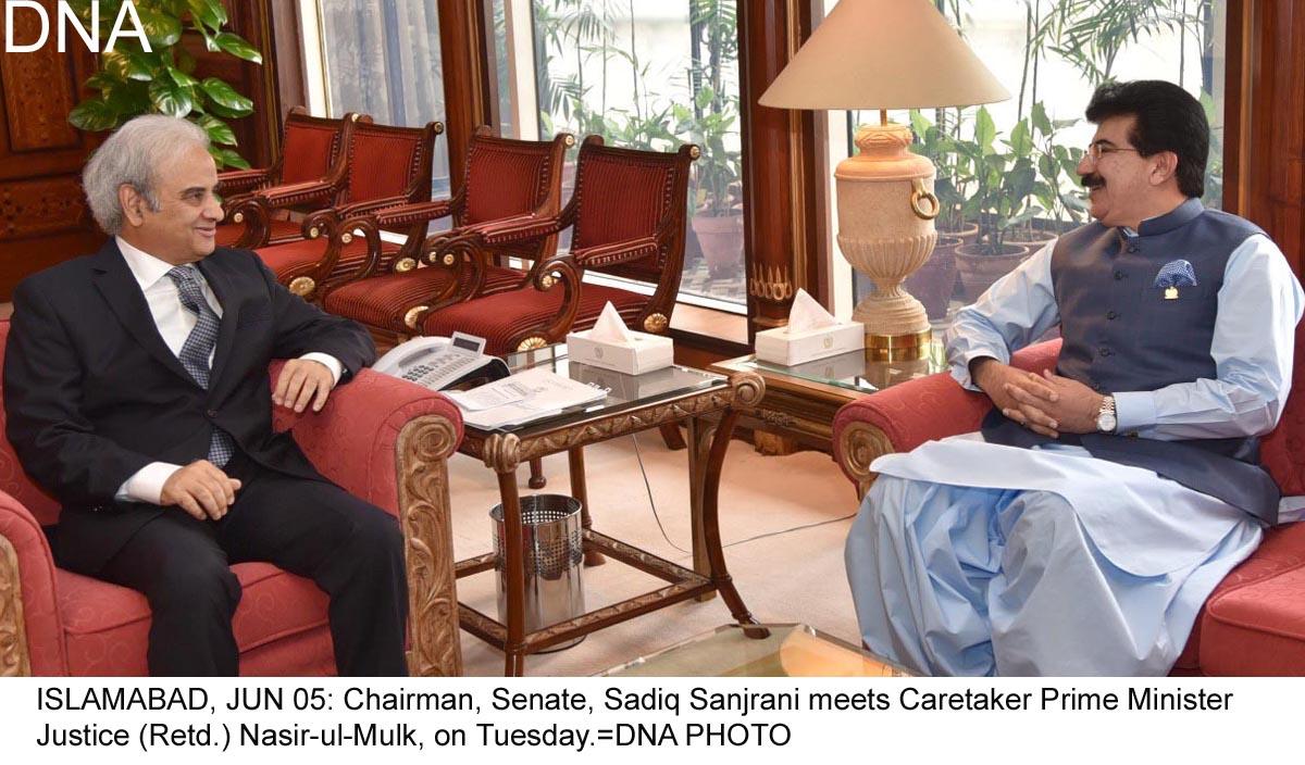 Chairman Senate, Caretaker PM discuss matters of mutual
